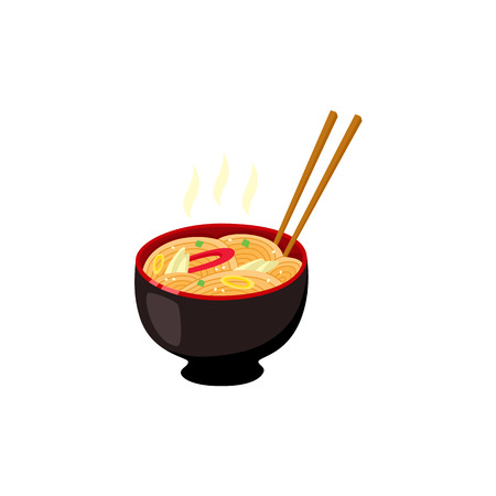 Bowl with hot ready-to-eat ramen noodles with vegetables and chopsticks isolated on white background. Delicious traditional japanese meal. Flat vector illustration.