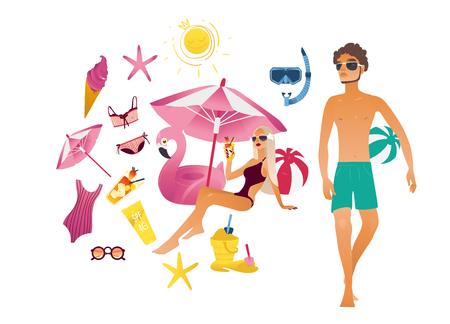 Summer vacation elements set. Cartoon travel holiday object character. Beach girl under sun umbrella man holding ball. Vector illustration pink flamingo pool ring snorkel starfish swimsuit sand scoop Vectores