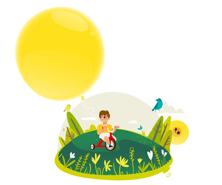Little boy riding tricycle and holding extremely big yellow hot air balloon - copy space. Sunny summer banner for greeting card, poster, invitation. Cartoon colorful vector illustration. Illustration