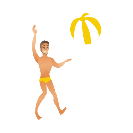 Young smiling man with suntan in swimwear plays two-colored beach ball isolated on white background - element for summer vacation and holiday time banner or card. Cartoon style vector illustration.