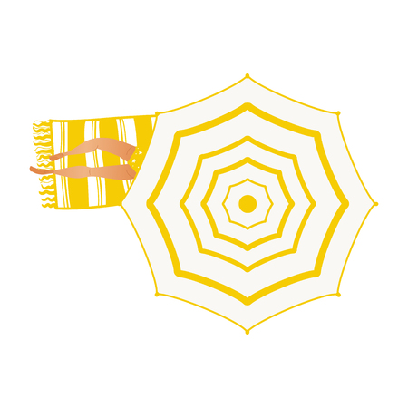 Summer vacation and holiday time element with top view of girl in yellow swimsuit lying on towel under beach umbrella isolated on white background. Vector illustration. Illustration