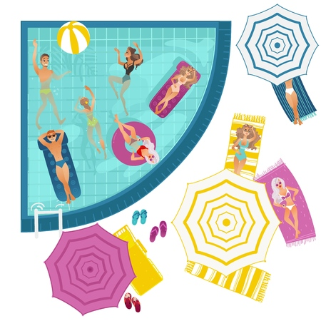 Vector cartoon people swimming in pool with blue tile walls, sunbath at mattress, lounger. Vacation summer travelling holiday concept. Male female character having fun Isolated background illustration