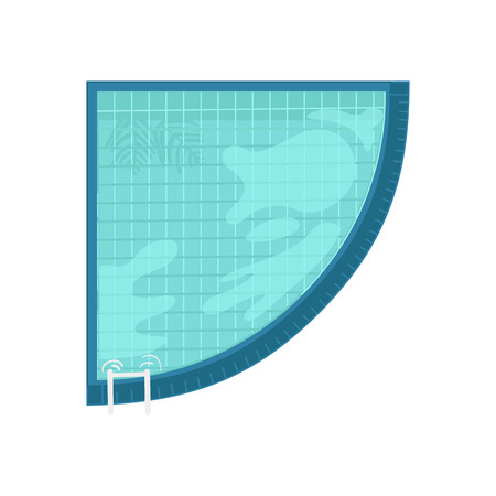 Summer vacation and holiday time or sport activity element with top view of angular swimming pool with blue clear water and reflections isolated on white background. Vector illustration. Иллюстрация
