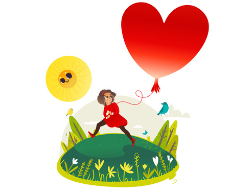 Smiling little girl runs and holds extremely big red hot air heart shaped balloon - copy space. Sunny summer banner for greeting card, poster, invitation. Cartoon colorful vector illustration.