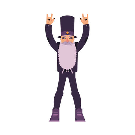 Aged rock man with long beard staying and making hand horns gesture isolated on white background. Cartoon character of musical fan in years in rock clothes. Colorful vector illustration. Illustration