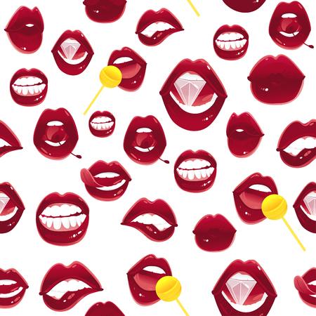 ポップアート赤い女性の唇のシームレスなパターン - アジャール、噛まれた、キス、舌、チェリー、ダイヤモンドとロリポップ、白の背景にベクト  イラスト・ベクター素材