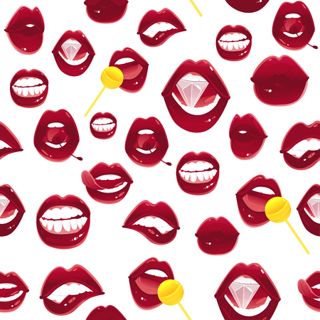 Seamless pattern of pop art red female lips - ajar, bitten, kissing, with tongue, cherry, diamond and lollipop, vector illustration on white background. Pop art sexy lips - seamless pattern, backdrop