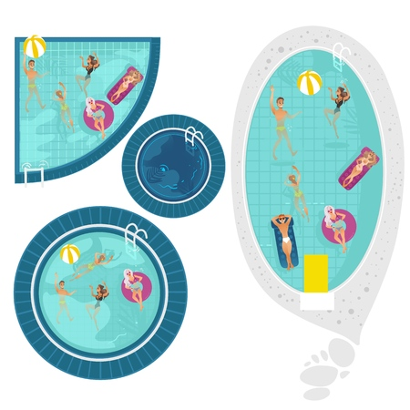 Vector cartoon people swimming in circle pool with blue tile walls water set Vacation summer travelling and holiday concept. Male female character having fun. Isolated illustration white background