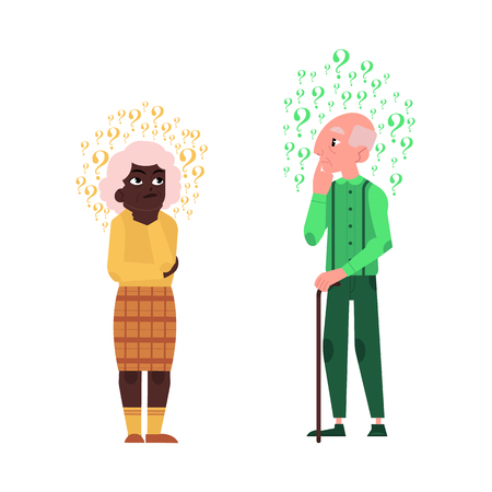 Vector flat old bald head man, african black elderly woman in casual clothing standing in thoughtful pose holding chin thinking with questions above head. Isolated illustration, white background Ilustração