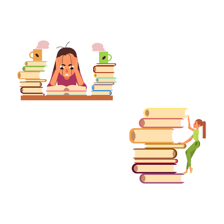Vector flat cute girl in green climbing huge book pile, woman sitting with book exhausted with coffee. Overwork or studying exam concept. Education and stress concept. Isolated background illustration Stock Illustratie