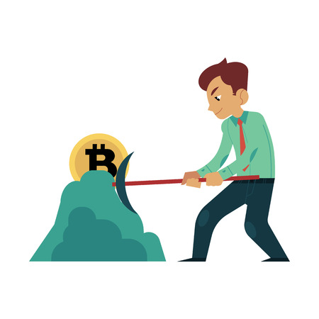 Vector cartoon bitcoin, mining concept. Male character, happy businessman in suit, smashing ground with hummer mining golden coin. Isolated illustration on a white background Standard-Bild - 97692434