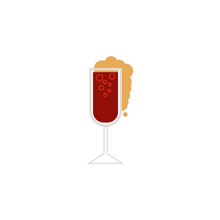 vector flat glass of sparkling alcohol drink and water drops mockup closeup. Ready for your design isolated illustration on a white background. Stock Vector - 103530288
