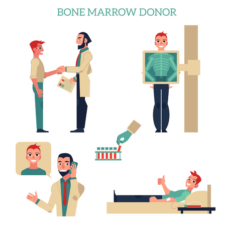 Flat marrow bone donation concept set. Male patients and doctors shaking hands, donating blood, calling phone, making x-ray scanning. Vector isolated background illustration
