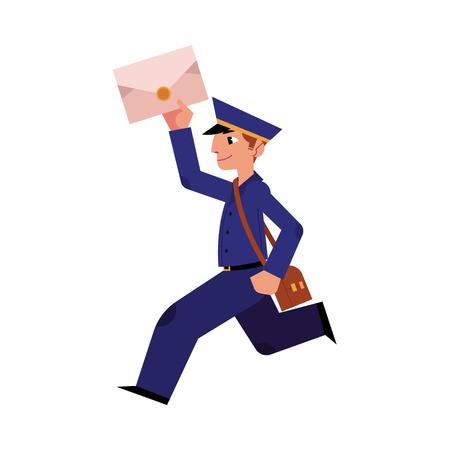 Carácter alegre cartero de dibujos animados corriendo sosteniendo carta o correo y bolso shouder. Hombre con gorra de uniforme azul profesional. Trabajador del servicio de entrega, cartero. Ilustración vectorial