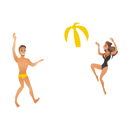 Young couple play beach ball.