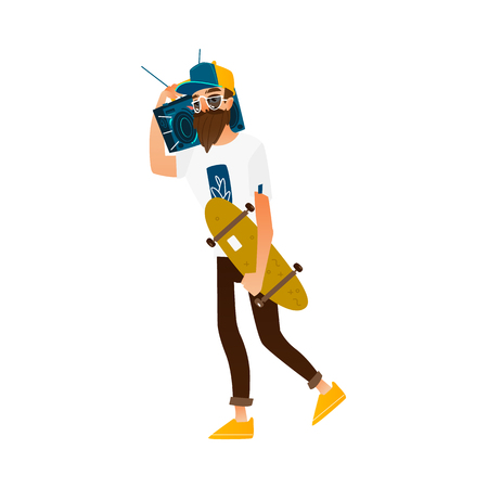 Young hipster man guy with beard and moustache walking with skateboard and boombox, flat cartoon vector illustration isolated on white background. Hipster man with skateboard and boombox, street style