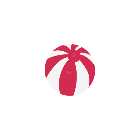 Pink striped inflatable ball icon. Illustration