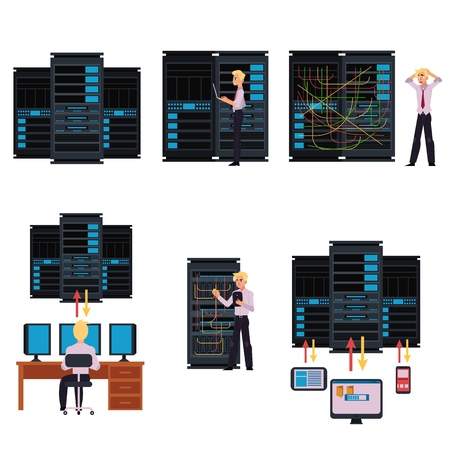 Set of server room images with data center and young system administrator configuring computer network and connecting cables while working with it technologies. Flat cartoon style vector illustration. Vettoriali