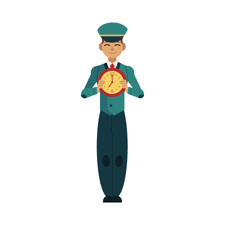 Worker character with time design concept. Young caucasian postman in uniform holding clock in front of his chest isolated on white background. Flat cartoon vector illustration.