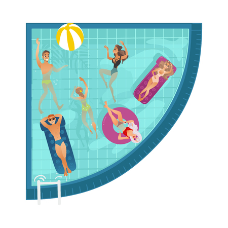 Vector cartoon people swimming, sunbath in circle pool with blue tile walls . Vacation summer travelling and holiday concept. Male female character having fun. Isolated illustration white background Illustration