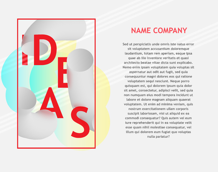 Idea text banner with curved thick black and white shapes, bright sign and copy space on white background.