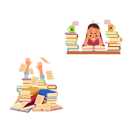 Flat vector exhausted tired angry girl student or worker sitting at table with book pile coffee cup man hand sticking out of book. Overwork studying exam concept education stress concept illustration.