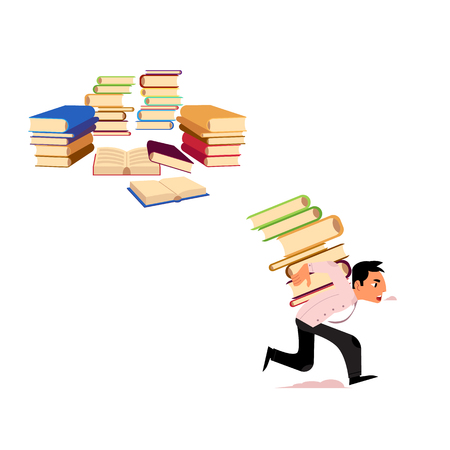 Flat vector exhausted tired man student or worker running carrying books at back, books pile icon set. Overwork or studying exams concept. Education, work and stress concept isolated illustration. Stock Illustratie