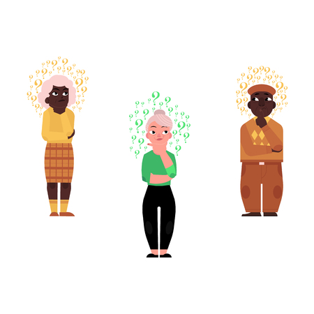 Flat vector old man, African black, Caucasian elderly gray-haired woman casual clothing standing in thoughtful pose holding chin thinking questions above head. Isolated illustration, white background.