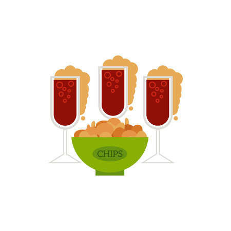 Flat vector glass of sparkling alcohol drink and water drops and potato chips snack ceramic pot. Ready for your design isolated illustration on a white background.