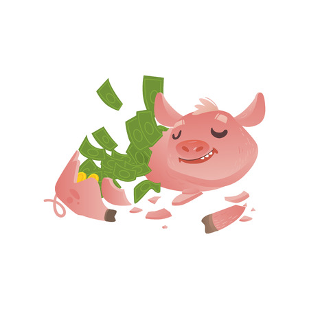Cartoon broken piggy bank icon. Happy pig money box without savings with smiling facial expression. Business finance, banking rich and wealth concept vector isolated background illustration.