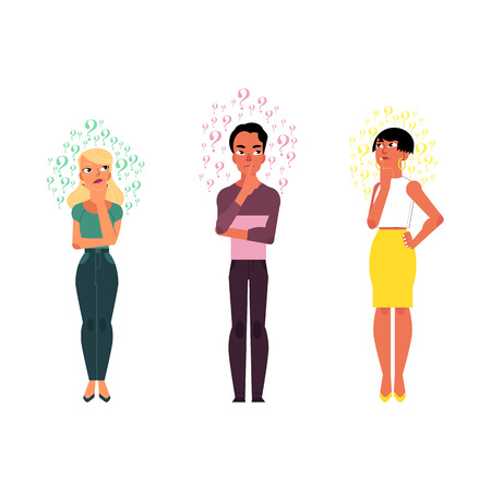 Cartoon vector adult Caucasian people thinking set. Men, beautiful women standing in thoughtful pose thinking with questions above head portrait. Isolated illustration white background. Ilustração