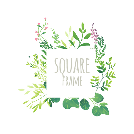 Square frame, decorations element made of green leaves, twigs, herbs, meadow flowers and branches with place for text, flat doodle vector illustration isolated on white background.