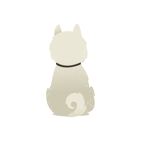 Back view of sitting dog alone on white background, vector illustration. Fluffy white puppy with a collar and a swirling tail sitting to our backside. Illustration