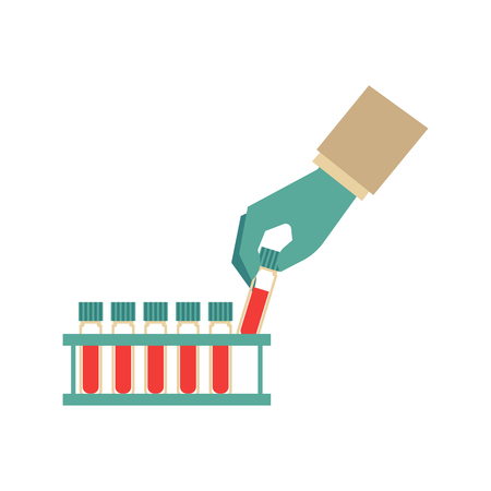 Flat doctor hand holding test tube with blood icon. Medical chemical biological pharmaceutical equipment. Illustration