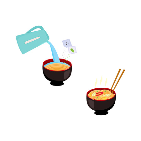 Set of images with step by step cooking instruction - how to prepare instant noodle with pouring boiling water from kettle into bowl and ready-to-eat meal. Flat vector illustration.
