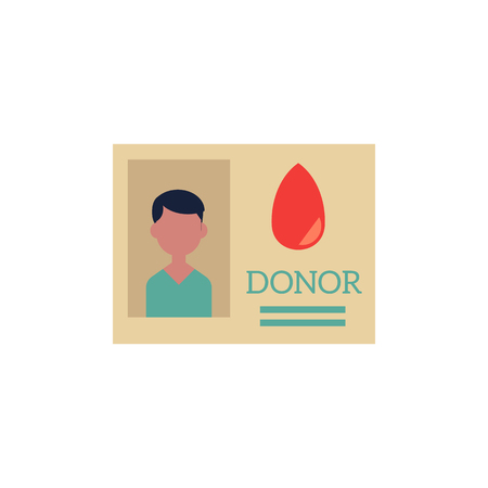 Flat donor identification card icon. Blood donator personal authentication badge. Security label with photo name. Medical plastic id document. Vector isolated background illustration