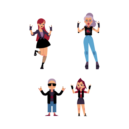 Vector flat rock music, culture people set. Heavy metal, punk rock style clothing, haircut elderly old women, young girl showing rock sign. Isolated illustration, white background
