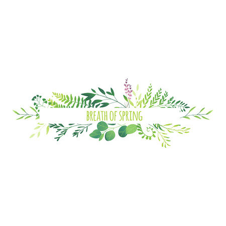 Horizontal banner, decorations element made of green leaves, twigs, herbs, meadow flowers and branches with place for text, flat doodle vector illustration isolated on white background