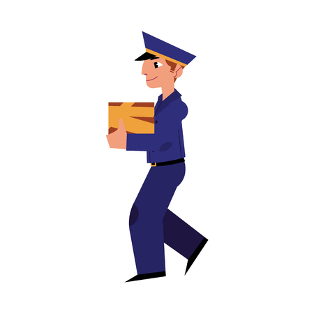 Cartoon postman cheerful character standing holding big parcel box. Man in professional blue uniform peaked cap. Delivery service worker, mailman. Vector illustration