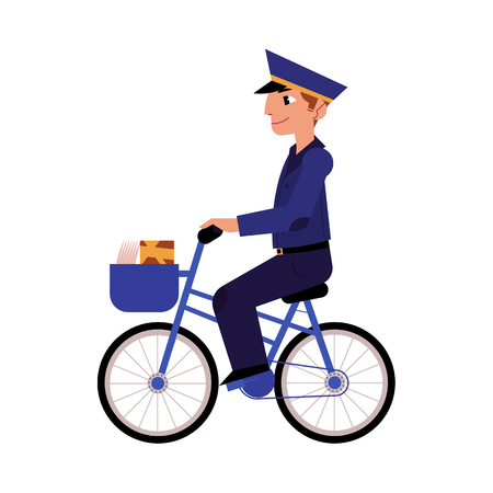 Cartoon postman cheerful character standing delivering parcel box by bicycle. Man in professional blue uniform peaked cap. Delivery service worker, mailman. Vector illustration Ilustração