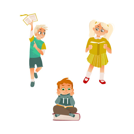 Vector cartoon small blonde girl, female school character standint, boys kid sitting at big book reading textbook smiling, running. Preschool child student, education concept. Isolated illustration