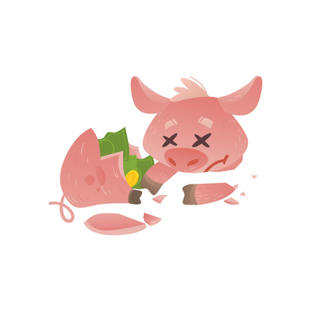 Cartoon broken piggy bank icon. Sad pig money box without savings with unhappy facial expression. Business finance, banking rich and weath concept. Vector isolated background illustration