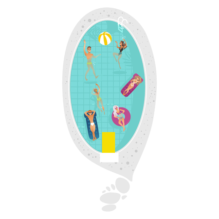Vector cartoon people swimming in circle pool with blue tile walls and water. Vacation summer travelling and holiday concept. Male female character having fun. Isolated illustration white background