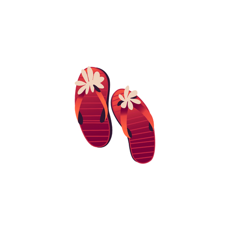 Red women slippers decorated with flowers isolated on white background. Beach girls flip-flops - element for summer vacation and holiday time banner or card. Cartoon style vector illustration.