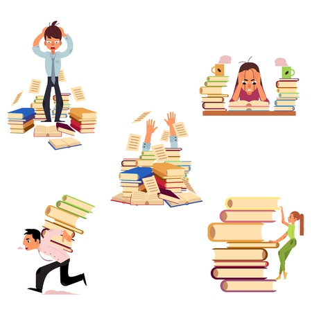 Vector flat people hard learning concept set. Exhausted tired girl student or worker sitting table coffee cup, overwork studying exams man holding hair, girl climbing stack, man running with books.
