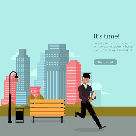 Young man in black business suit with books running on city background. Person is late and in a hurry. Cartoon character. Flat colorful vector illustration. Motivation, start up, move forward banner. 向量圖像
