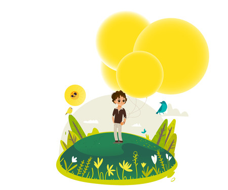 Little boy walking and holding bunch of extremely big yellow hot air balloons - empty space for text. Sunny summer banner for greeting card, invitation. Cartoon colorful vector illustration.