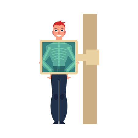 Flat man smiling during x-ray screening prodecure. Male character doing radiography scan. Happy patient skeleton health examination, checkup in clinic. Vector isolated background illustration