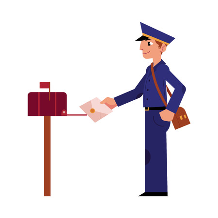 Cartoon postman cheerful character standing smiling putting letter in mailbox. Man in professional blue uniform peaked cap. Delivery service worker, mailman. Vector illustration