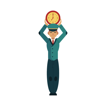 Postman in blue uniform holding wall watches under his head isolated on white background. Young caucasian worker character with time design concept. Flat cartoon vector illustration.